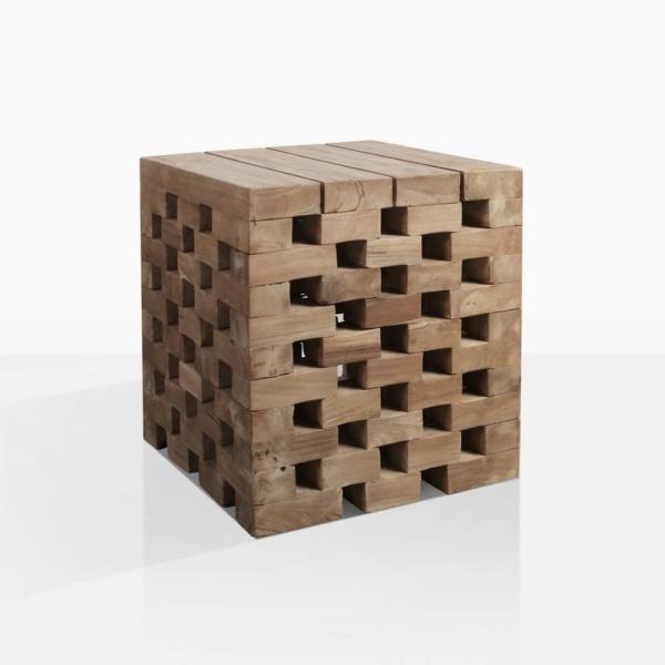 Crossword Puzzle Teak Side Table
