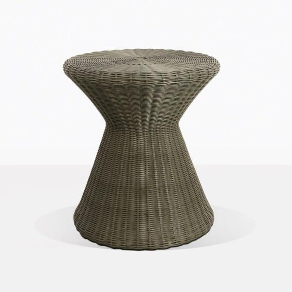 Jak Wicker Round Side Table Moss Green