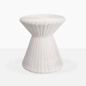 Jak White Wicker Round Outdoor Side Table