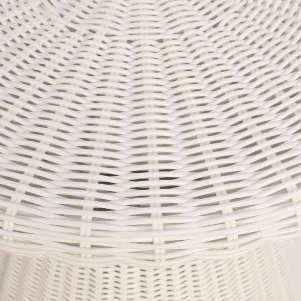 Jak White Wicker Side Table Closeup
