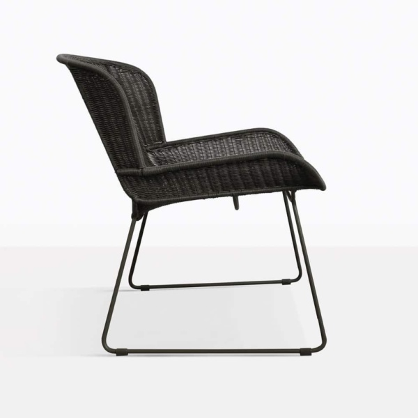 Nairobi Black Wicker Outdoor Lounge Chair Side