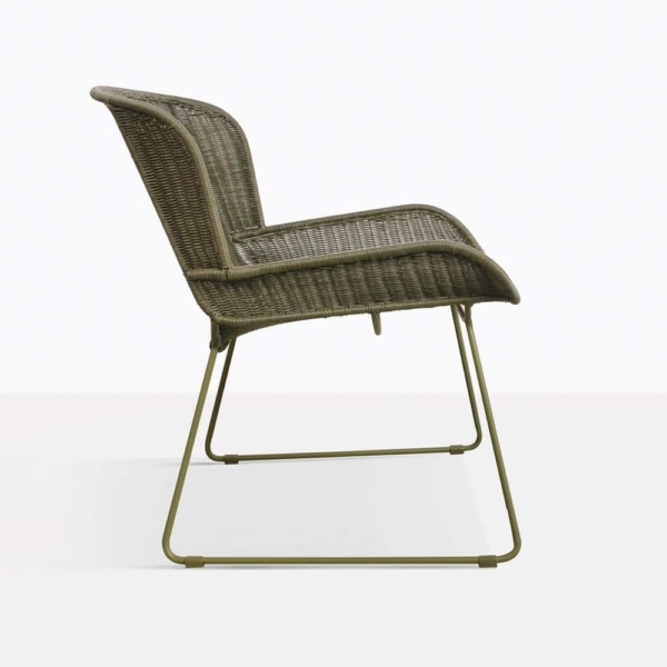 Nairobi Green Wicker Outdoor Lounge Chair Side