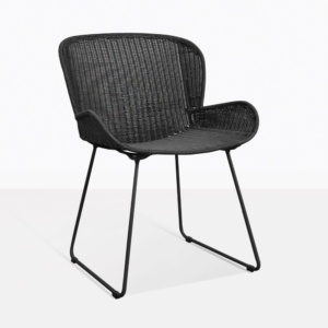 Nairobi Pure Black Wicker Dining Chair Back Design