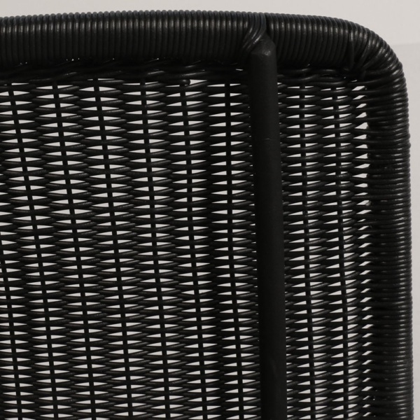 Polly Black Wicker Chair Closeup