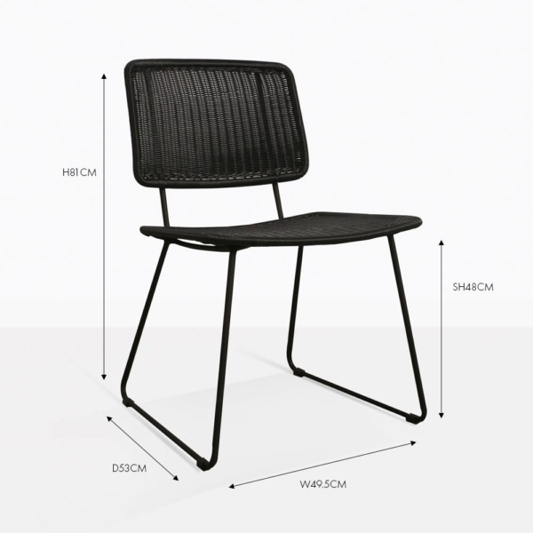 polly black wicker dining chair