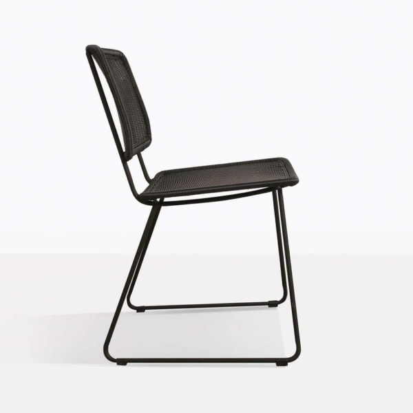 Polly Black Wicker Dining Chair Side