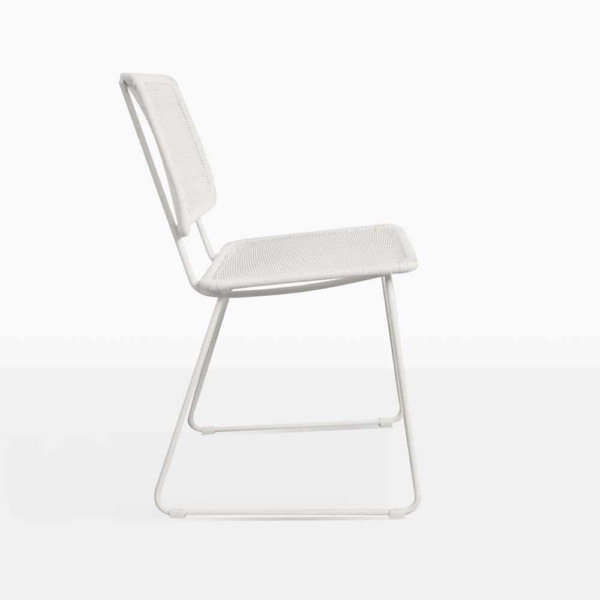 Polly White Wicker Dining Chair Side