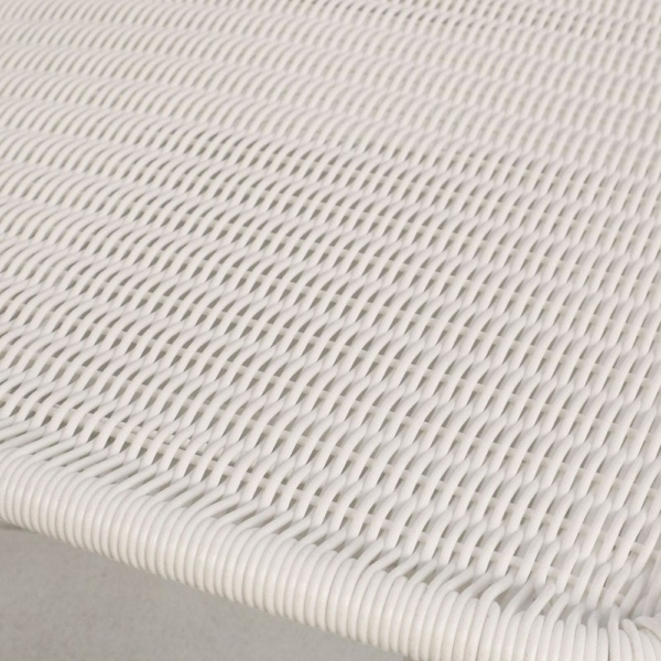 Polly White Wicker Dining Chair Closeup