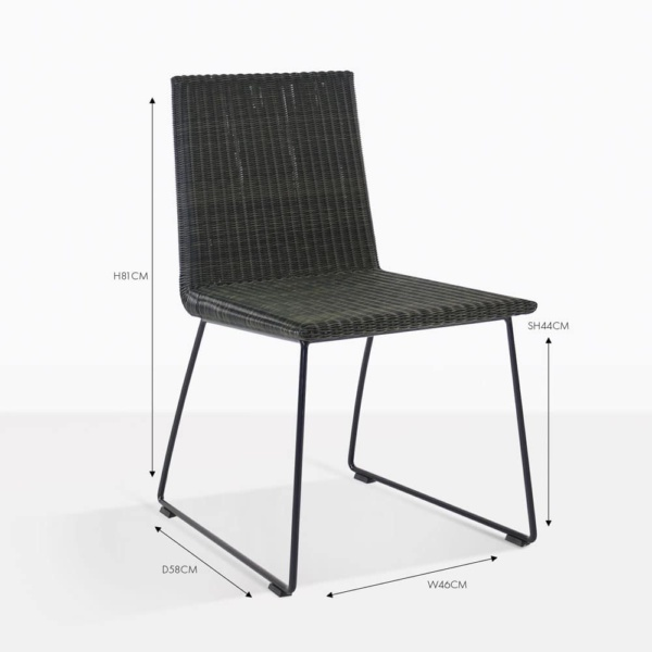 retro black wicker dining side chair