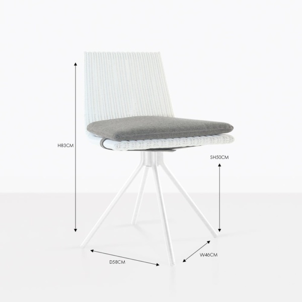 Sammie white wicker dining chair with cushion