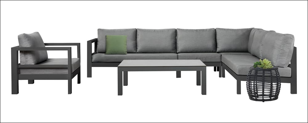 Amazon Charcoal Black Aluminium Furniture Collection with club chair and L shaped sectional sofa