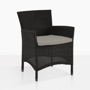 Enna Black Wicker Dining Arm Chair