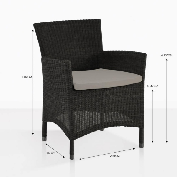 Enna arm wicker dining chair black with tan cushion