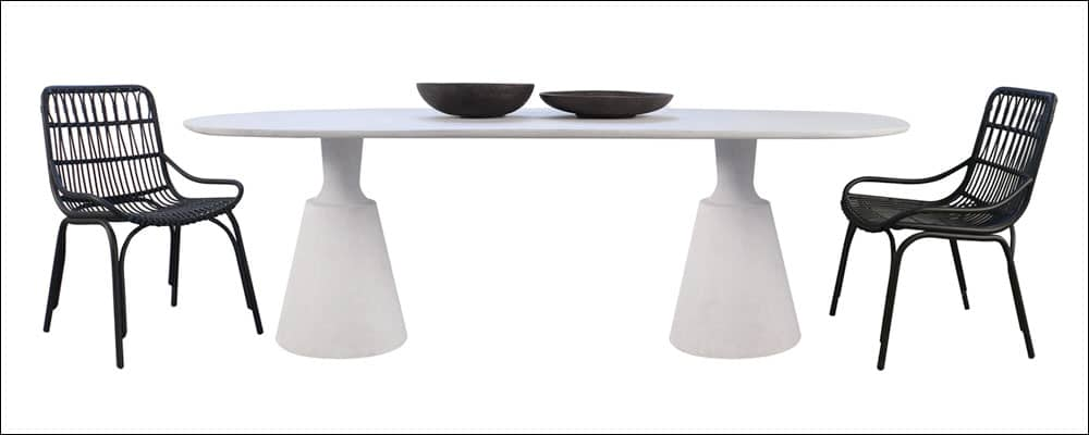 Vibe Concrete Dining table with two chairs