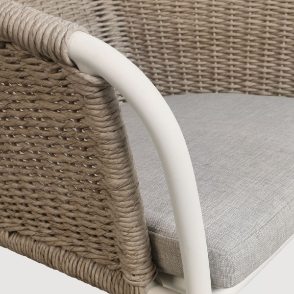 Becki Wicker And Aluminium Outdoor Dining Chair Closeup