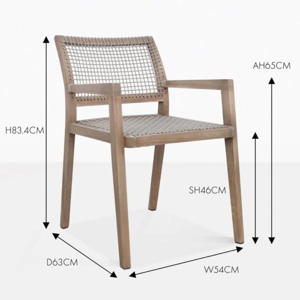 gazzoni reclaimed teak rope dining chair