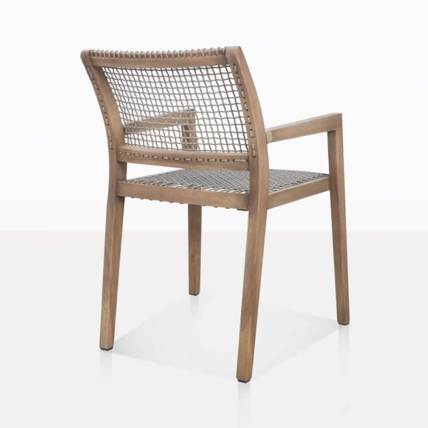 Gazzoni Teak And Rope Dining Arm Chair Back