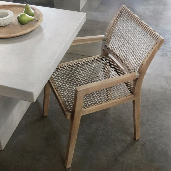 Gazzoni Teak And Rope Dining Chair In Showroom