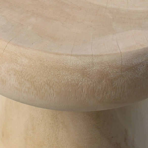 Lolli Raw Teak Side Table Closeup