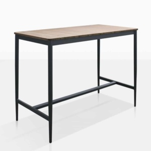 Noble Outdoor Teak And Aluminum Bar Table