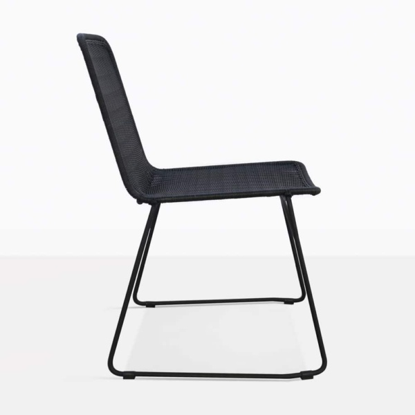 Olivia Black Wicker Dining Chair Side