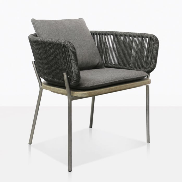 Studio Vertical Rope Weave Outdoor Dining Chair