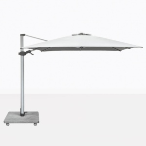 Antego Square Cantilever Patio Umbrella With White Canopy