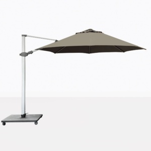 Antego Round Cantilever Patio Umbrella With Taupe Canopy