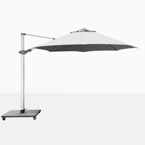 Antego Round Cantilever Patio Umbrella With White Canopy