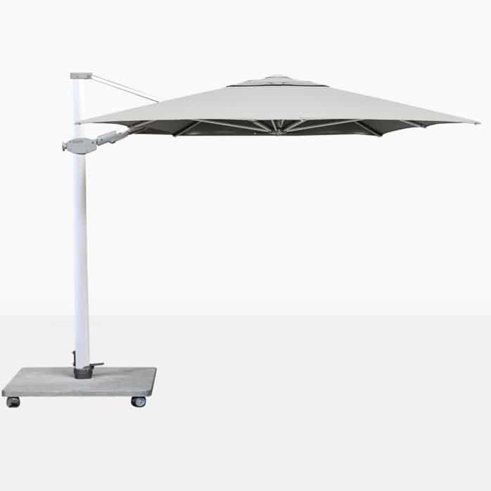 Antego Rectangular Cantilever Outdoor Umbrella With White Canopy