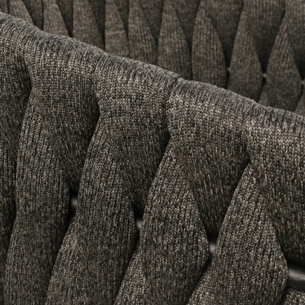 Bianca Rope Outdoor Dining Chair in Coal Closeup