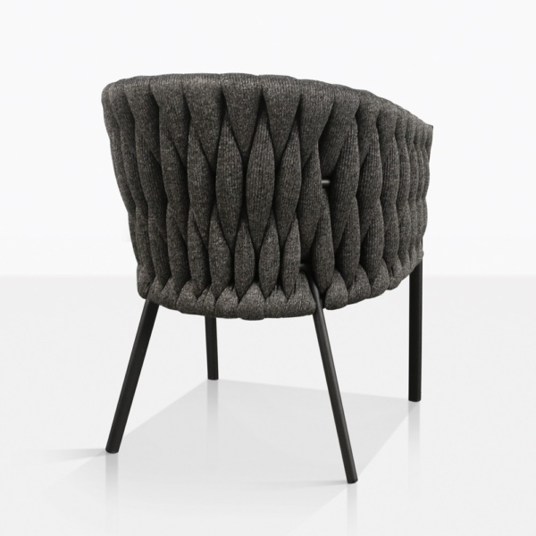 Bianca Rope Outdoor Dining Chair in Coal Back View