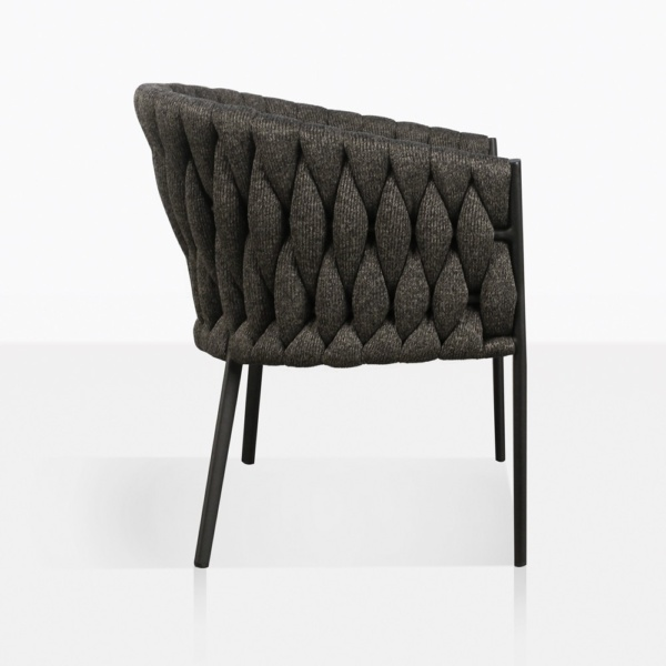 Bianca Rope Outdoor Dining Chair in Coal Side View