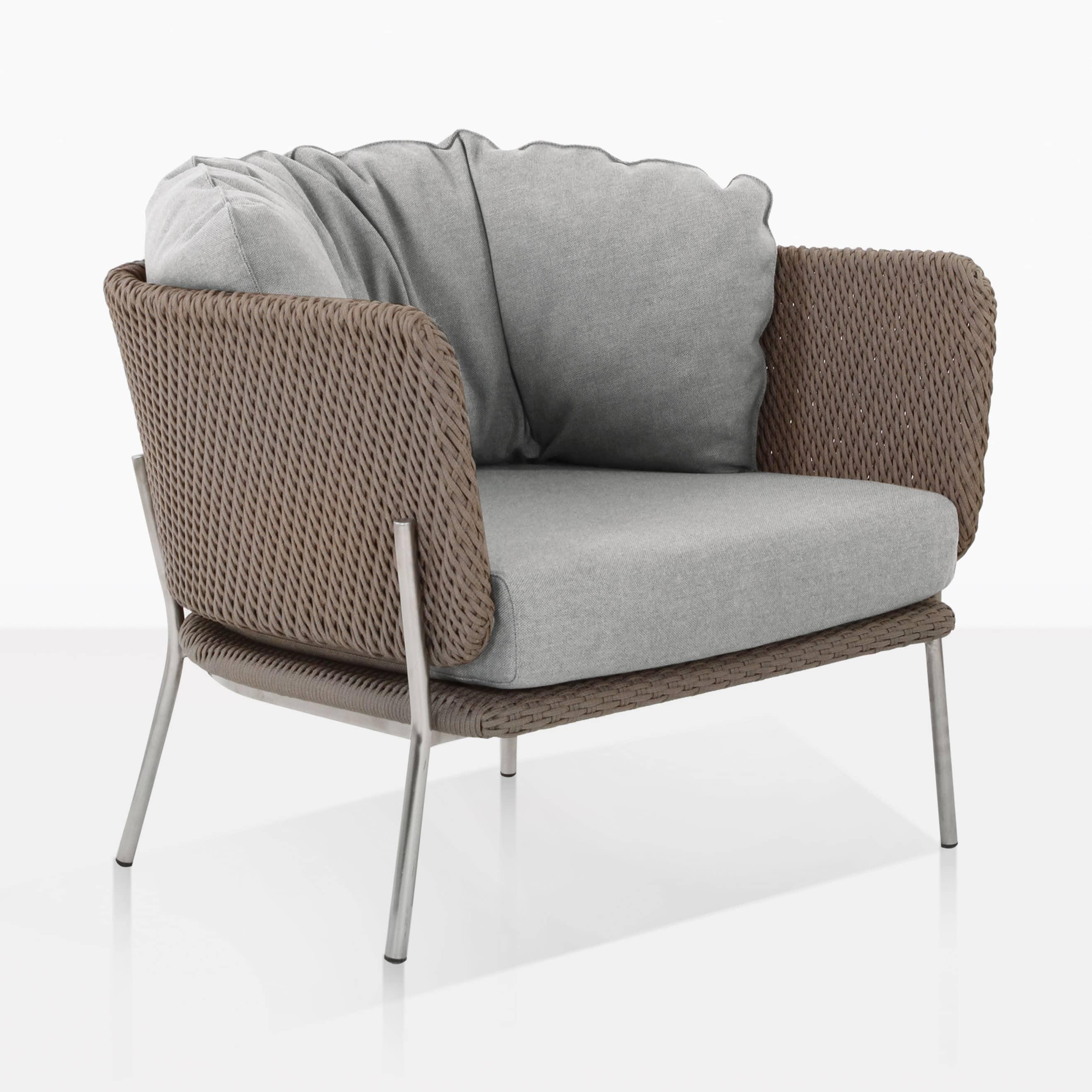 Studio rope relaxing chair cyprus weave in blend fog design warehouse nz