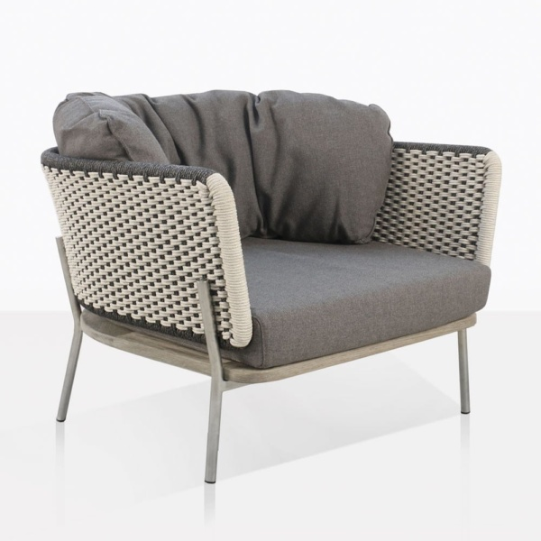 Studio Two Tone Rope Relaxing Chair With Grey Cushions