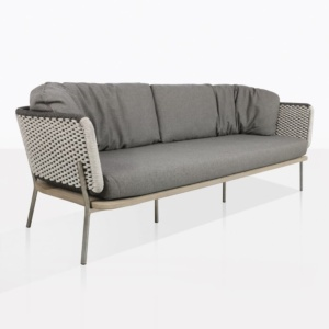 Studio Rope And Teak Outdoor Sofa With Cushions