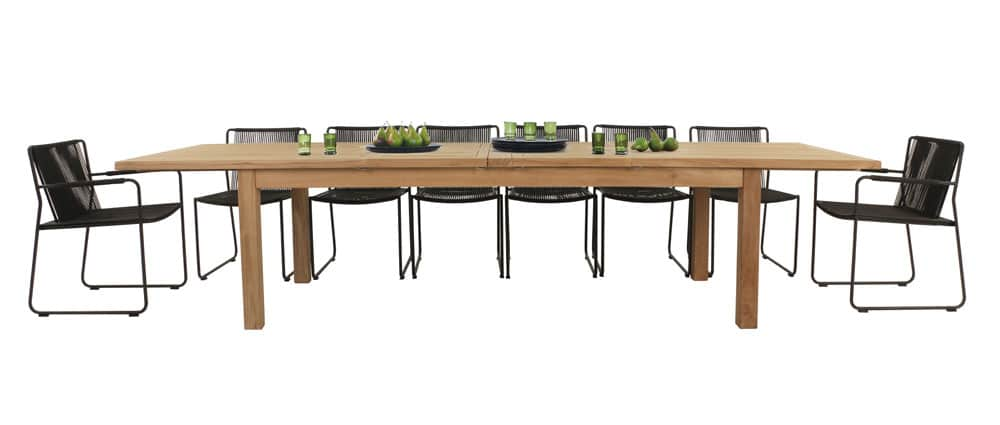 Capri A-Grade Teak Dining Table & Nero Chairs