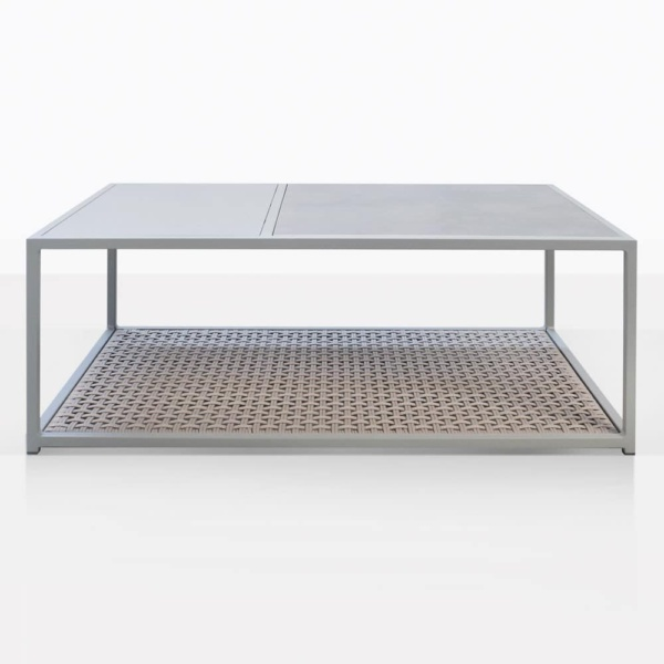 Studio Rectangular Metal And Rope Outdoor Coffee Table
