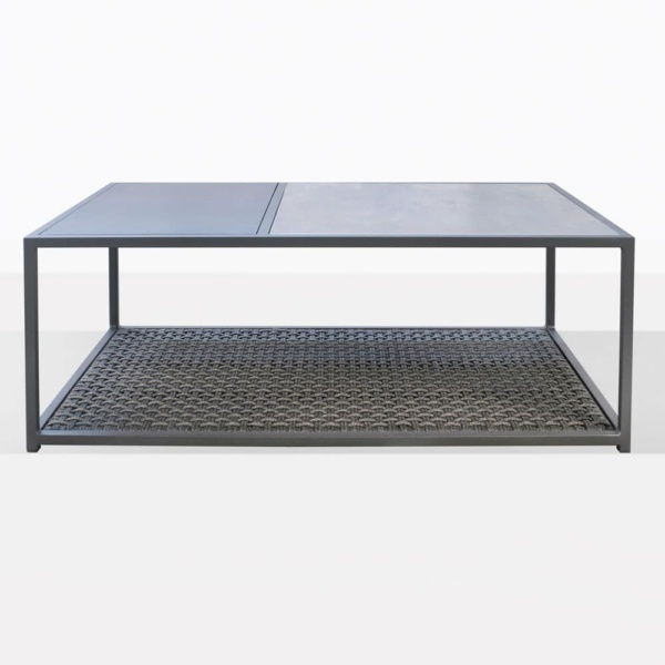 Studio Rectangular Metal And Rope Outdoor Coffee Table In Charcoal Grey