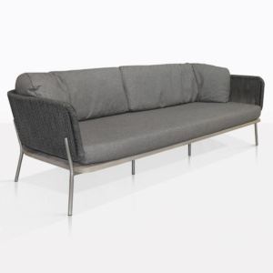 Studio Rope And Teak Outdoor Sofa With Coal Cushions