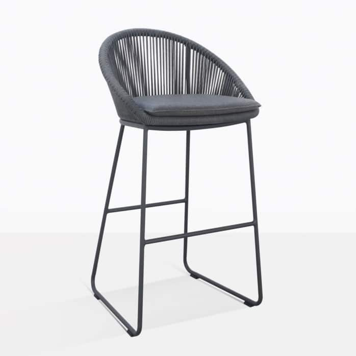 Urban Rope Outdoor Bar Stool In Dark Grey
