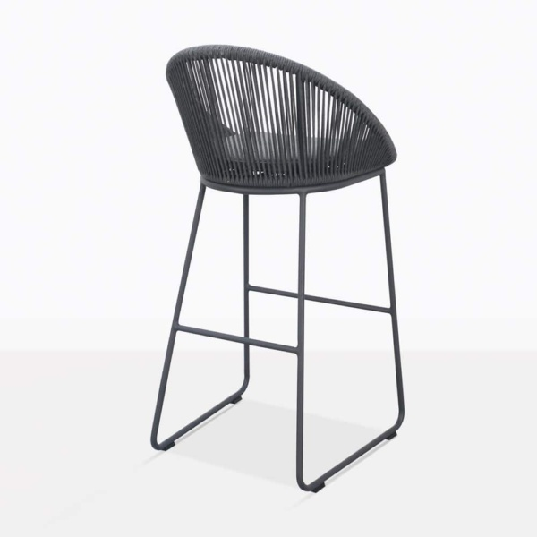 Urban Rope Outdoor Bar Stool In Dark Grey Back