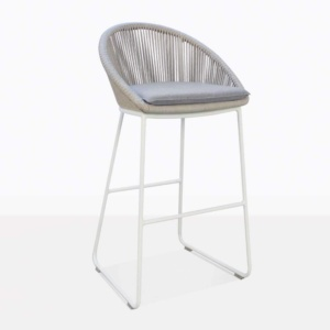 Urban Rope Outdoor Bar Stool In White With Grey Cushion