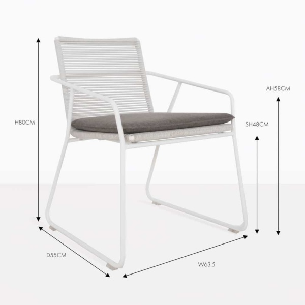 pierre white rope and aluminium dining chair
