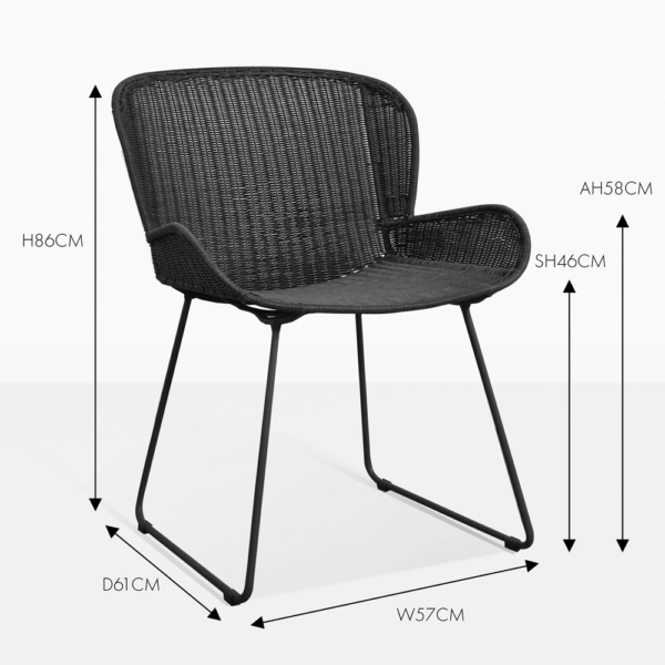 Nairobi pure black wicker dining chair