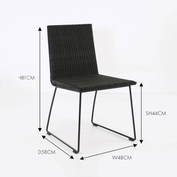 retro black wicker dining chair