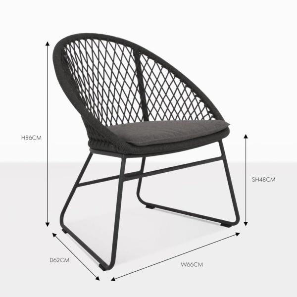 zaha rope dining chair black