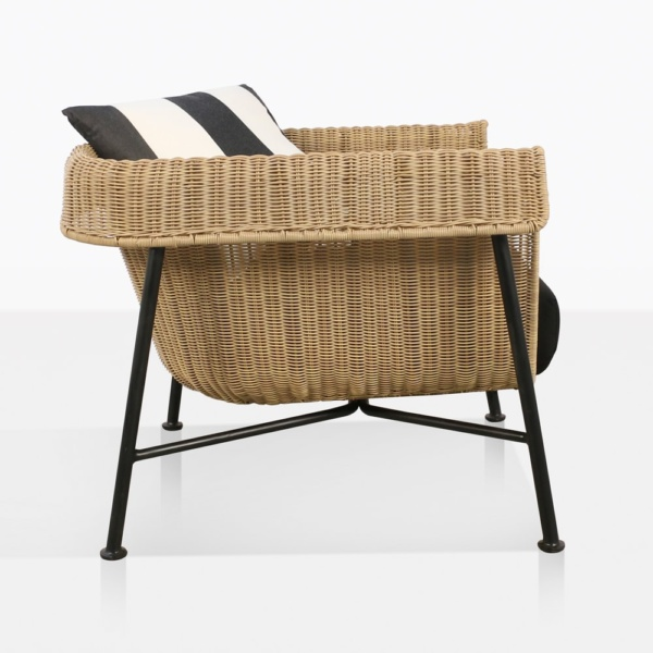 side view of yogi outdoor wicker relaxing chair