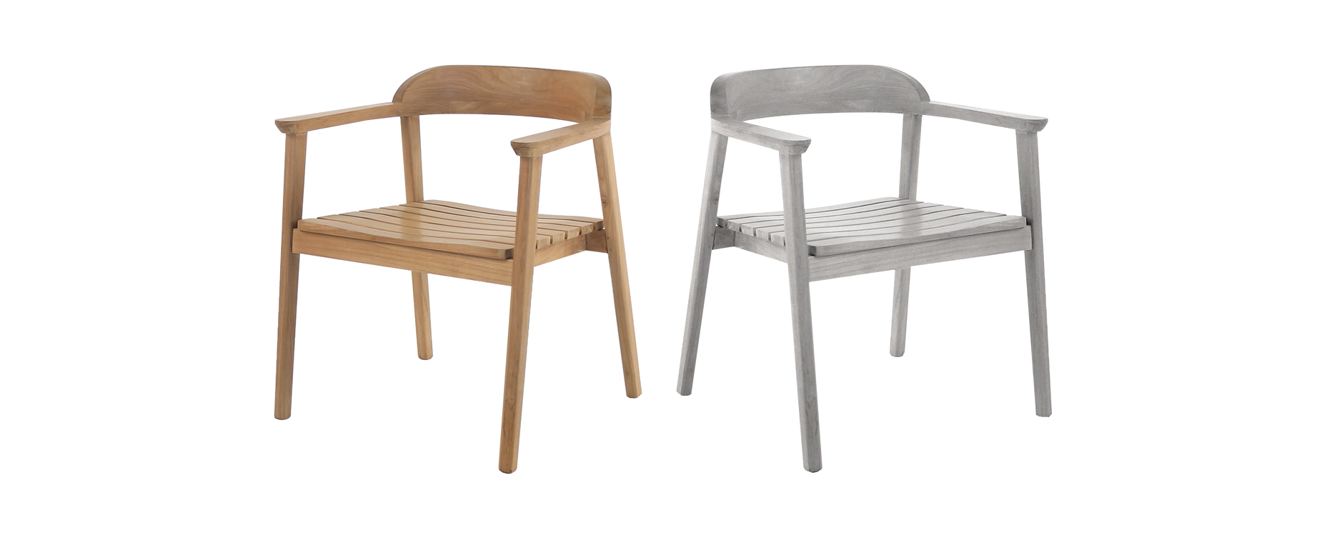 Teak wood chairs: Comparison of Finished and Weathered