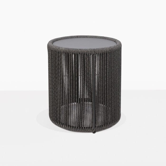 Benni Outdoor Rope Round Accent Table Small